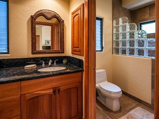Kailua Kona house photo - Guest Suite separate toilet room with walk-in glass block & natural stone shower