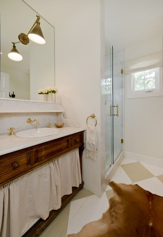 master bathroom, antique vanity, 12 inch rain shower head