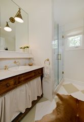 West Hollywood villa photo - master bathroom, antique vanity, 12 inch rain shower head
