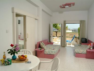 Pyla apartment rental - Living room,front veranda & bedroom on the left