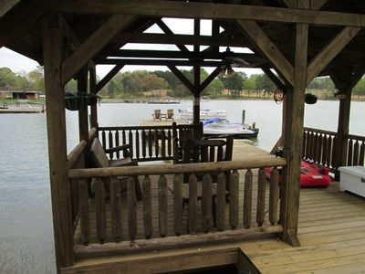 Furnished gazebo with floating dock
