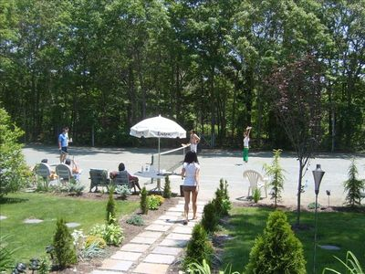 professional groomed and maintained clay tennis court