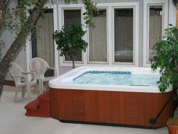 Enjoy a soak in our private Hot Tub after a long day of skiing or hiking.