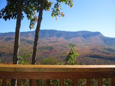 Smoky Mountains Fall Foliage from deck of Gatlinburg cabin rental