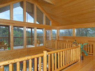 Wears Valley cabin photo - Wears Valley Cabin Loft, Catwalk to Deck, Wooden Rockers Beautiful Mountain View
