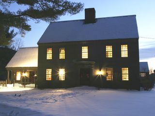 Manchester house photo - Front of the house in winter twilight. Warm and cozy inside.