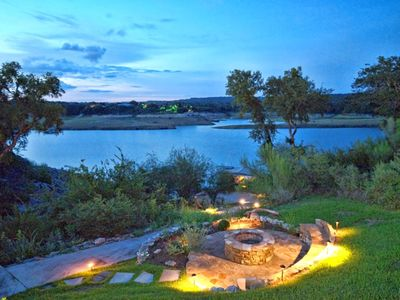 Spicewood estate rental - Gradual path goes down to the lake past the firepit.