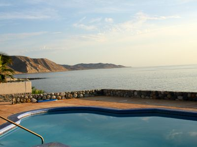 Private pool and north view of Sea of Cortez towards Punta Pescadro