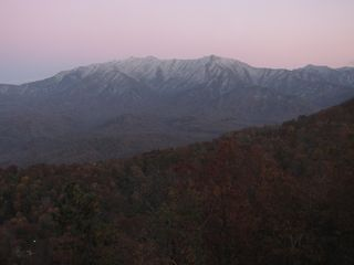Sunset moon glow on mountains as seen from condo balcony - Gatlinburg condo vacation rental photo