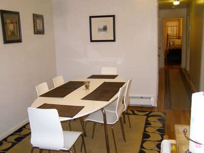 Harlem apartment rental - Dining area; view of hall to bedrooms