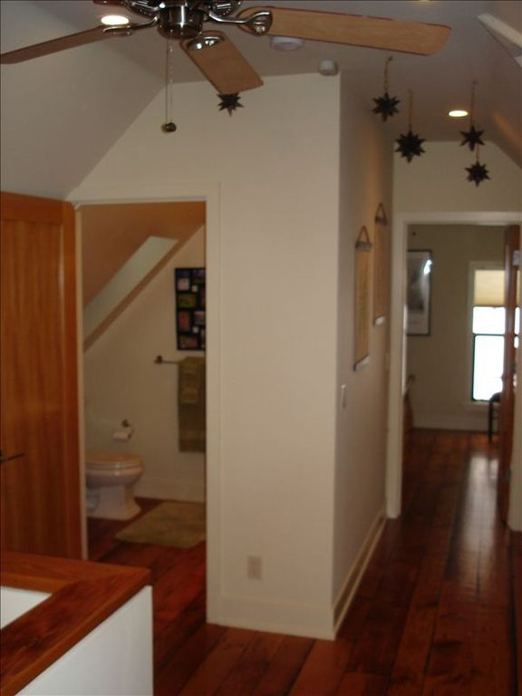 Upstairs common area looking into bathroom