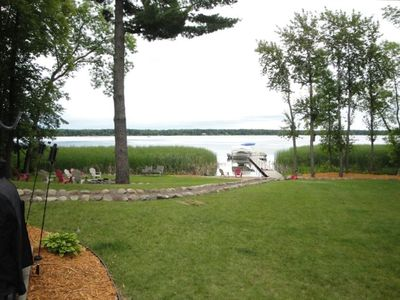 View of Gladstone Lake from patio, firepit on left