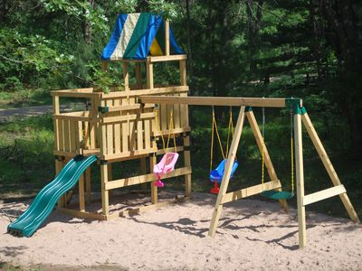 New children's play area with play sand
