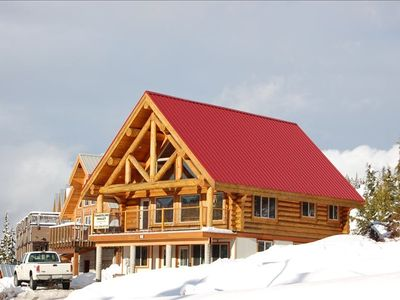 Ski Chalet exterior another sunny day built with premium Douglas fir logs