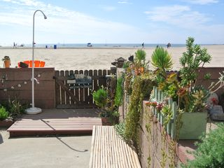 Marina del Rey condo photo - Access to the beach with outdoor shower and succulent garden