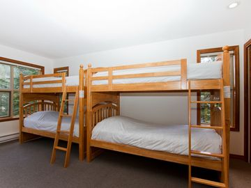Bedroom with bunk beds and view of Blackcomb
