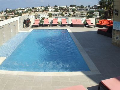 Mellieha villa rental - Fantastic Large Pool with Sunbathing platform with fountains and bubble jets