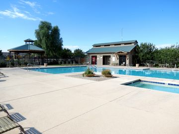 Three community pools with two pools heated during winter months