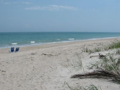 Beautiful private beach, only steps to house. Sunrise walks, safe & convenient.