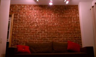 Queens studio photo - Exposed Brick Wall & Track Lighting. Italian-Made Sofa Turns Into Long Twin Bed.