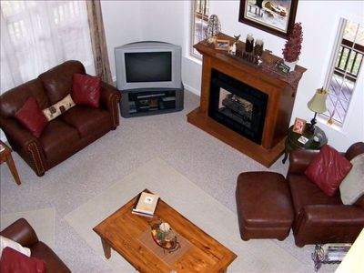 Living Room with Gas Fireplace, Satellite TV / DVD
