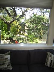 View of lovely courtyard out of one of the living room windows - Austin house vacation rental photo