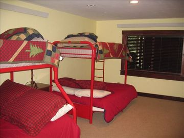 Kids large bunk room with closet, dresser
