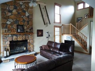 Tannersville townhome photo - Living Room, Fireplace and Bose radio with Ipod/MP3 docking station