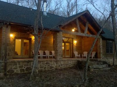 Greers Ferry Lake cabin rental - Back covered porch overlooking the river.