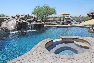 Great Private Pool with ROCK Waterslide and Spa.