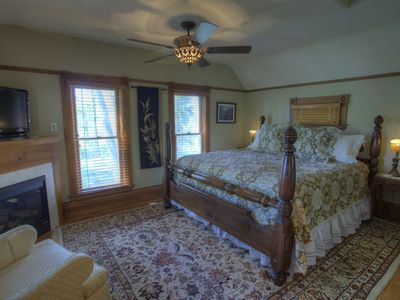 The upstairs Superior Suite, with fireplace and more!