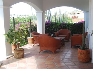 Lower Level terrace, one of several outside Casitas 1&2 - Cabo San Lucas villa vacation rental photo