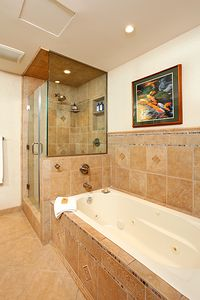 Master bath whilr pool tub and stall shower