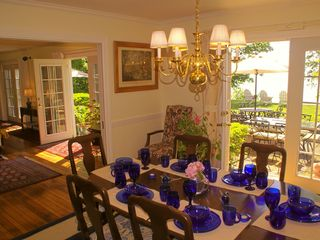 Dining room with outdoor brick patio and 4 tables for additional dining - Bar Harbor estate vacation rental photo