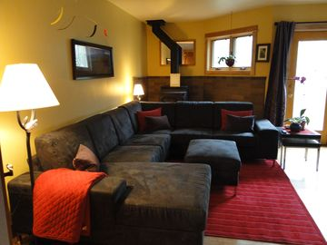 View of our Large Comfy Sectional Sofa- Great Place to Relax and Watch a Movie!