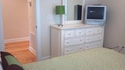 TV in Master bedroom with dresser for storage