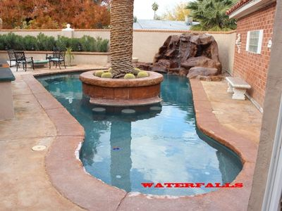 outdoor saltwater pool and waterfall/heating is optional