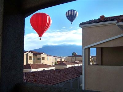 View of Balloons & Sandia Mtn from Balcony