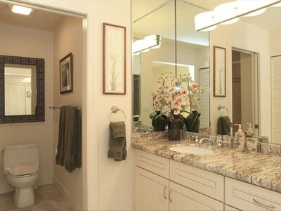 MASTER BATHROOM VANITY AREA WITH GRANITE COUNTER