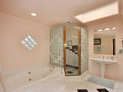 Master Bathroom with Jacuzzi Tub and His and Hers sinks