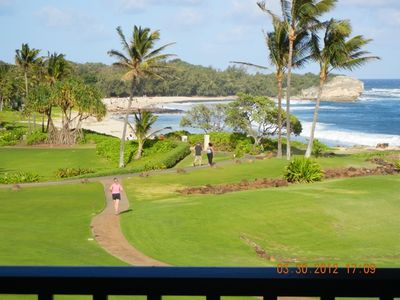 3/12/12 View of Beach, Bay & Cliff from inside Beachfront 522 in afternoon sun.