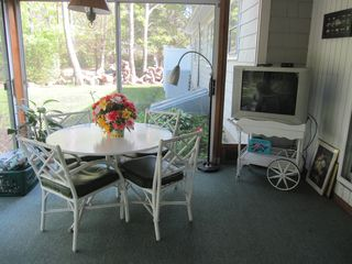 Hyannis - Hyannisport house photo - breakfast in the sunroom. Cable TV to watch the ball games