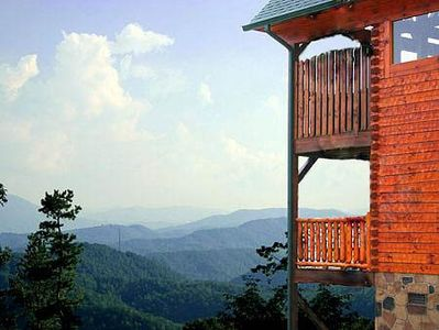 The cabin with the Smoky Mountains in background