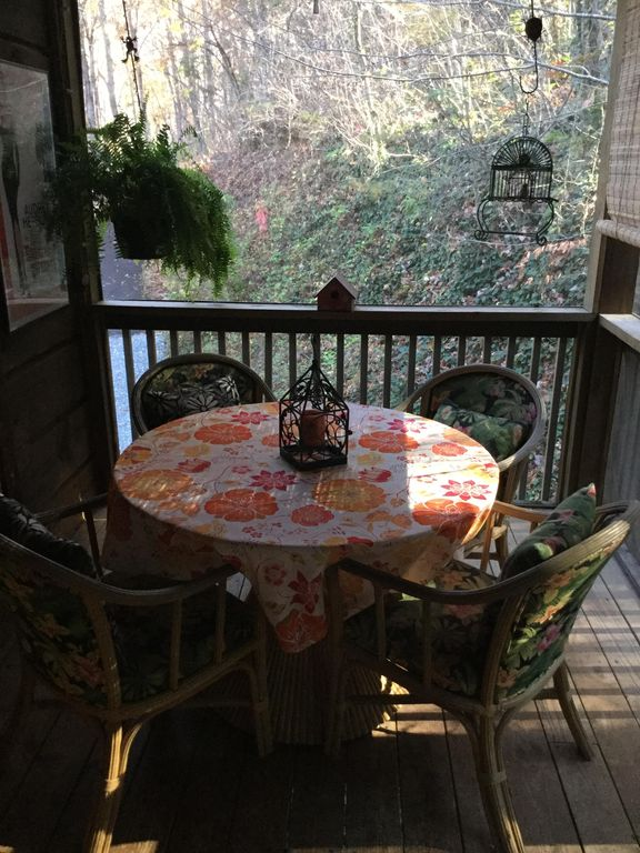 Everyone loves to play games on the screened porch..