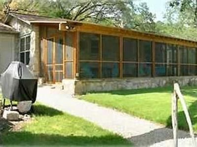 Lago Vista cabin rental - Oversized screened porch with ceiling fans