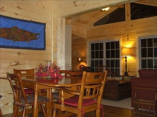 Berkeley Springs cabin photo - Dining and living room area with queen sofabed and