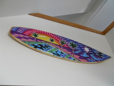 Oxnard house rental - Surfboard artwork by Chuck Trunks