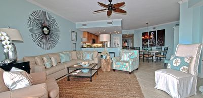 Well-appointed and comfortable living room and kitchen