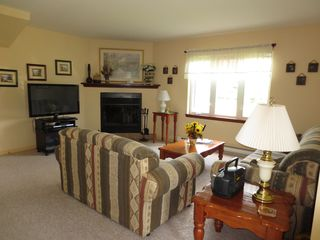 Mont Tremblant townhome photo - Our Living Room, with Flat Screen TV and Fireplace