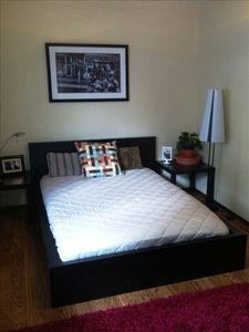full-sized bed in the second bedroom